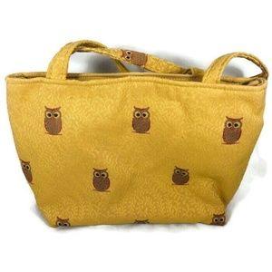 Womens Cloth Tan Handbag Tote Owl Print 2 Straps